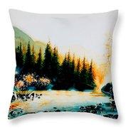 Misty Fishing Morning Throw Pillow