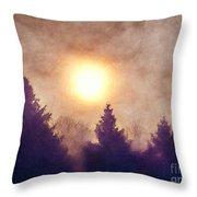 Misty Forest Sunrise Throw Pillow