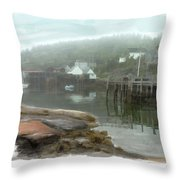 Misty Harbor Throw Pillow