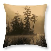 Misty Lake And Trees Silhouette Throw Pillow