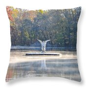 Misty Lake Angel Throw Pillow