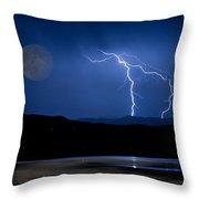 Misty Lake Full Moon Lightning Storm Fine Art Photo Throw Pillow