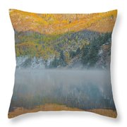 Misty Lake With Aspen Trees Throw Pillow