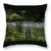 Misty Lily Pond Throw Pillow