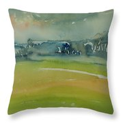 Misty Morning, 1981 Wc On Paper Throw Pillow