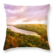 Misty Morning At Lake Of The Clouds Throw Pillow