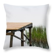 Misty Morning By The Dock Throw Pillow