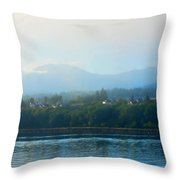 Misty Morning In Port Angeles Throw Pillow