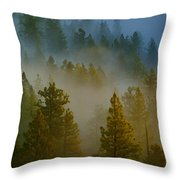 Misty Morning In The Pines Throw Pillow