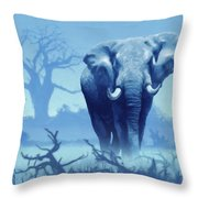 Misty Blue Morning In The Tsavo Throw Pillow