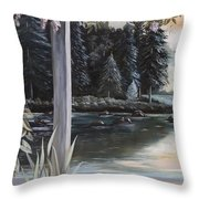Misty Morning In The Vines 1 Throw Pillow