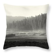 Misty Morning In Yosemite Sepia Throw Pillow