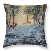 Misty Morning On Cannock Chase Throw Pillow