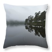 Misty Morning Reflections Throw Pillow