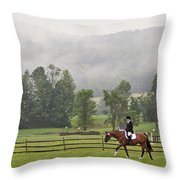 Misty Morning Ride Throw Pillow