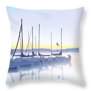 Misty Morning Sailboats Throw Pillow