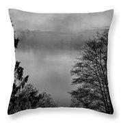 Misty Morning Sunrise Black And White Art Prints Throw Pillow