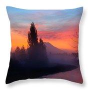 Misty Mountain Morning Throw Pillow
