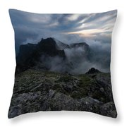 Misty Peaks And A Whiff Of Danger Throw Pillow
