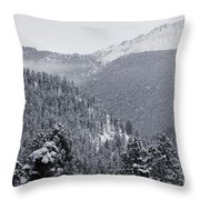 Misty Pikes Peak Throw Pillow