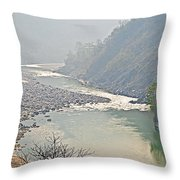 Misty Seti River Rapids In Nepal  Throw Pillow