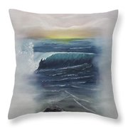 Misty Sun Set Throw Pillow