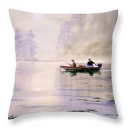 Misty Sunrise On The Lake Throw Pillow