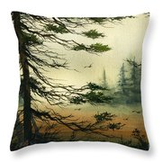 Misty Tideland Forest Throw Pillow by James Williamson