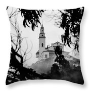 Misty View Of Monserrate Church Throw Pillow