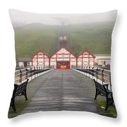 Misty View Of Victorian Pier  Redcar Throw Pillow