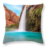 Misty Waterfall Throw Pillow