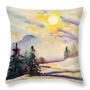 Misty Winter Afternoon In The Alps Throw Pillow