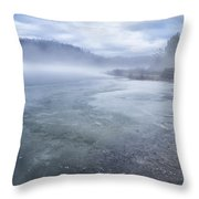 Misty Winter Morning On Lake Throw Pillow