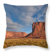 Mitchell Butte And Gray Whiskers In The Evening Light Throw Pillow