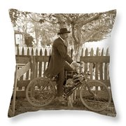 Mitchell Motorcycle Circa 1907 Throw Pillow