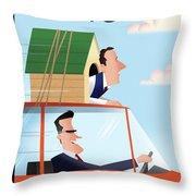 Mitt Romney Driving With Rick Santorum In A Dog Throw Pillow