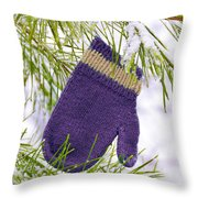 Mitten In Snowy Pine Tree Throw Pillow