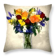 Mixed Bouquet Of Tropical Colored Flowers On Textured Vignette Oil Painting Throw Pillow