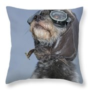 Mixed Breed Dog Dressed In Leather Cap Throw Pillow