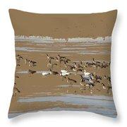 Mixed Flock Throw Pillow
