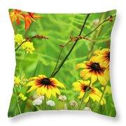 Mixed Flowers Bloom In A Garden Throw Pillow