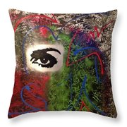 Mixed Media Abstract Post Modern Art By Alfredo Garcia Eye See You 2 Throw Pillow
