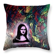 Mixed Media Abstract Post Modern Art By Alfredo Garcia Mona Lisa 2 Throw Pillow