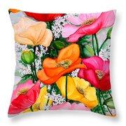 Mixed Poppies Throw Pillow