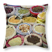Mixed Spices In Market Of Cairo Egypt Throw Pillow