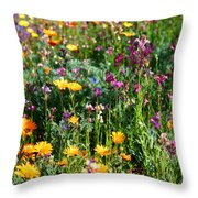 Mixed Wildflowers Throw Pillow