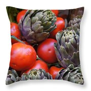 Articholes And Tomatoes Throw Pillow