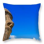 Moai And Blue Sky Throw Pillow