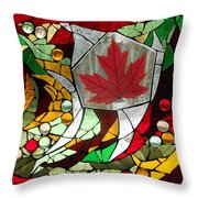 Mosaic  Stained Glass - Canadian Maple Leaf Throw Pillow