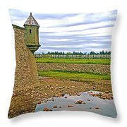 Moat And Wall Around Fortress In Louisbourg Living History Museum-ns Throw Pillow